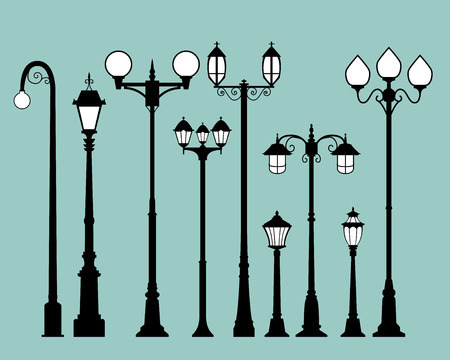 Set of street lamps in flat style, vector