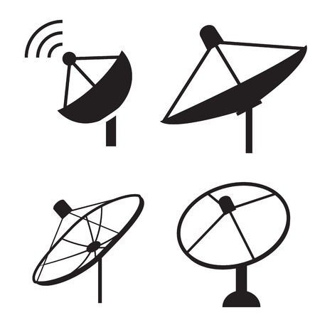 airwaves: Set of silhouette satellite dish icon, vector Illustration