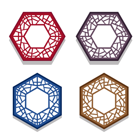 grid paper: Set of traditional chinese hexagon window frame, coaster paper