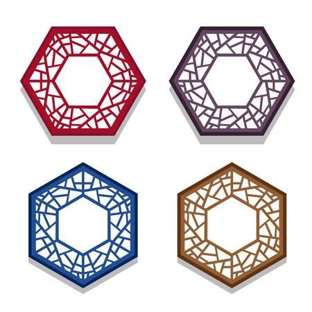 Set van traditionele chinese zeshoek raamkozijn, coaster papier Stock Illustratie
