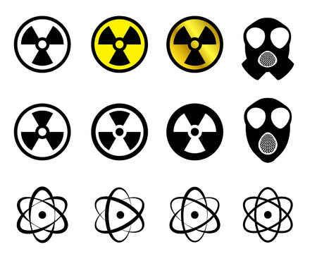 caution chemistry: Set of Nuclear icons in many style, Vector