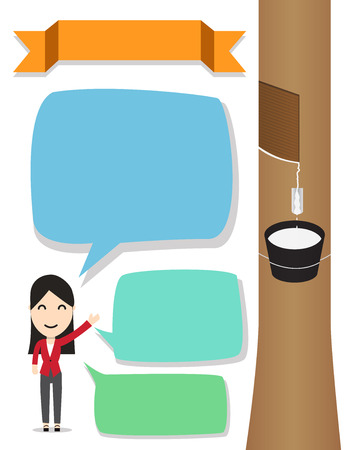 Hevea brasiliensis, para rubber tree infographic with woman presenter and bubble text