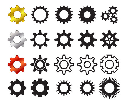 Set of cog icons in many style, Vector Vettoriali