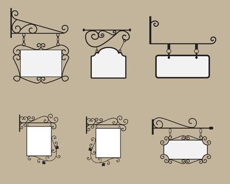 Opknoping teken en Banner met zwarte gebogen stalen rand en vierkante doek in europa stijl