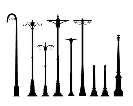 分離ベクトル オブジェクトのフラット スタイルでモダンなランプのポストのセット  イラスト・ベクター素材
