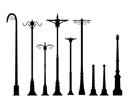 lamp post: Set of modern lamp post in flat style, isolated vector object