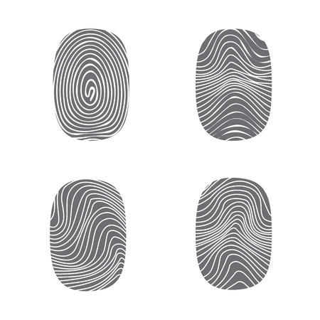 Set of fingerprint in black silhouette on white, vector Stock fotó - 46906990