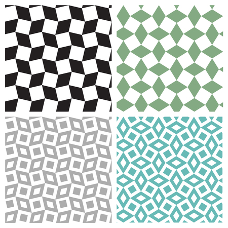 Set of geometric square seamless pattern, vector