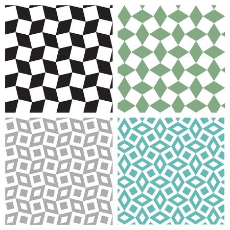 Set of geometric square seamless pattern, vector