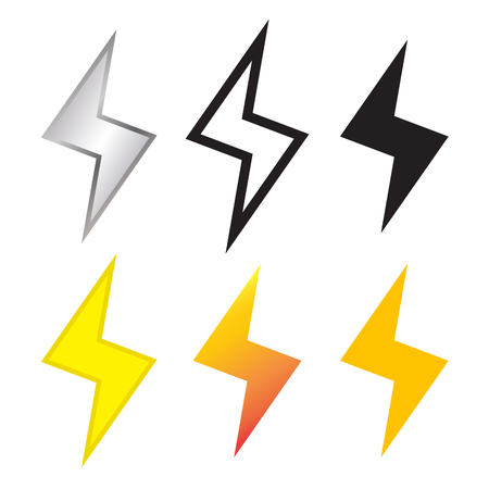 Thunder and Lighting bolt icon in many style, vector