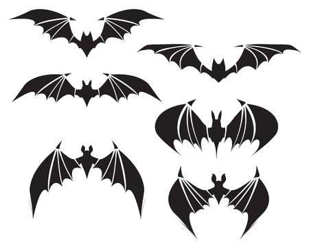 Symbol of bat with big wings, vector Ilustrace