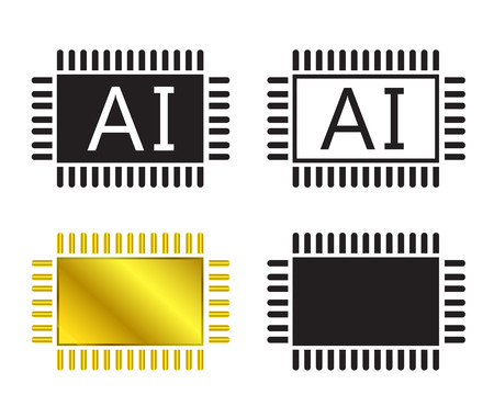 ai: AI system icon and cpu symbol, Vector illustration