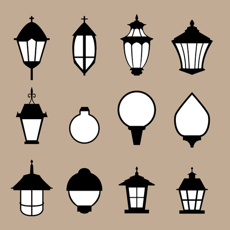 lamp silhouette: Set of modern lamp in flat style, isolated vector object Illustration