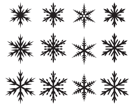 Set of snowflakes in many style, Vector