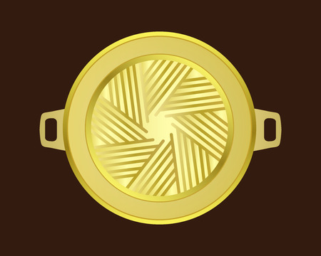 buffet: Brass grill pan in korean style on wood table , isolated vector object Illustration