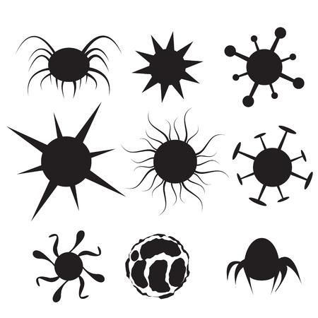 celula animal: Conjunto de icono plana Virus. Bacterias, enfermedad, agente pat�geno, germen, bacteria vih y de c�lulas de c�ncer Vectores