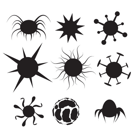 computer virus: Set of Virus flat icon. Bacteria, disease, pathogen, germ, bacterium hiv and cancer cell