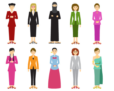 Set of cute woman with traditional dress in flat style, vector