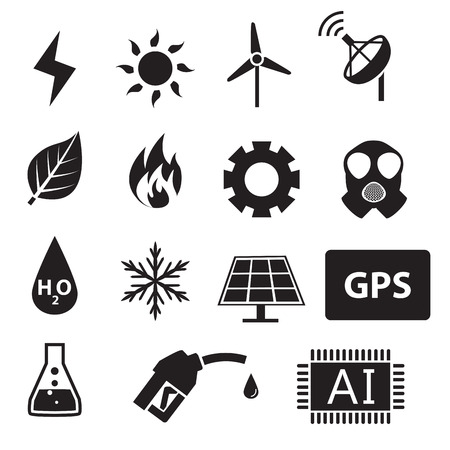 nu: Set of power and energy system in silhouette icons, vector Illustration