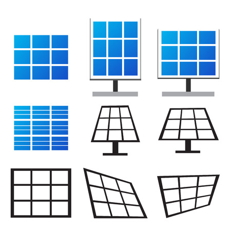 panels: Set of solar panels in many style , Vector