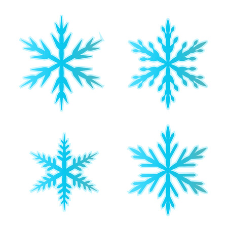 Set of blue snowflakes, Vector illustration