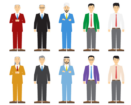 old people smiling: Set of old and young business man in flat style, vector Illustration