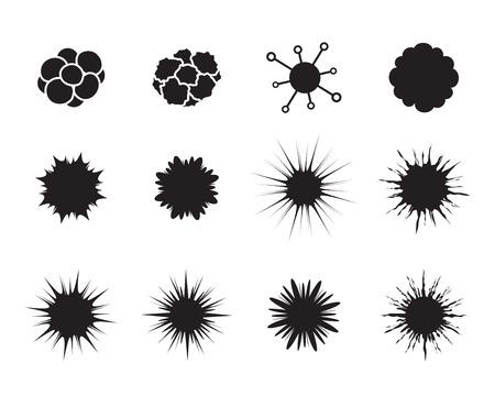 rak: Zestaw komórki nowotworowej w stylu mieszkania. Bakterie, choroba, patogen, kiełki, bakteria HIV i wirusa, wektor