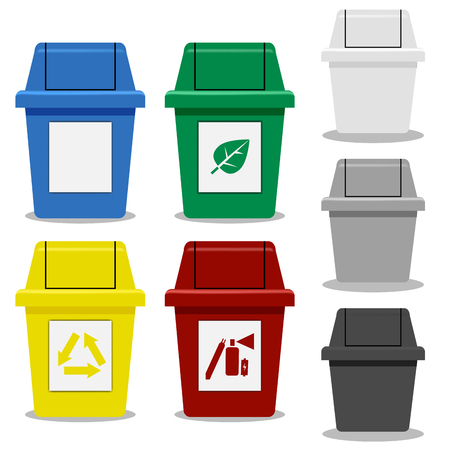 hazardous waste: Set of Trash bin with symbol in flat icon style in many color