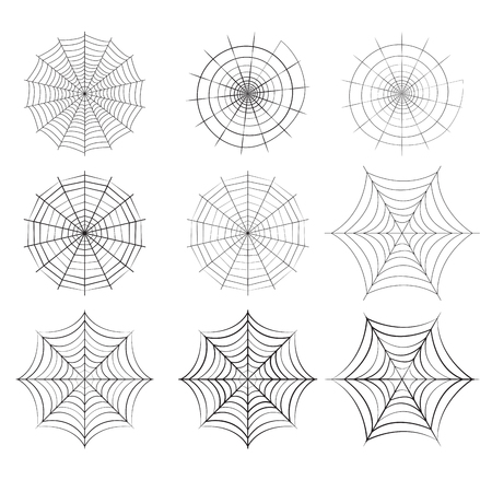 Set of spider web in silhouette style, isolated vector Illustration