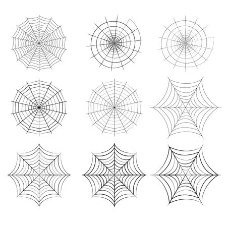 Set van spinneweb in silhouet stijl, geïsoleerd vector