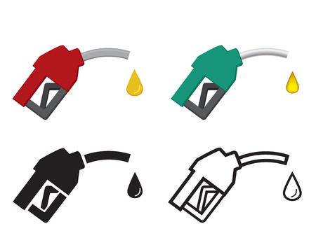 fuel pumps: fuel nozzle and oil drop, oil energy icon, vector