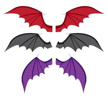 Stel Bat vleugels in kleur in vlakke stijl, vector Stock Illustratie