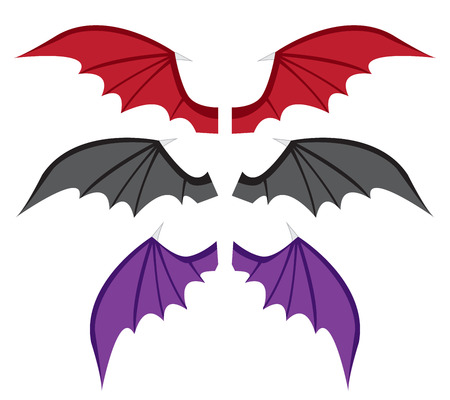Set Bat wings in color in flat style,vector