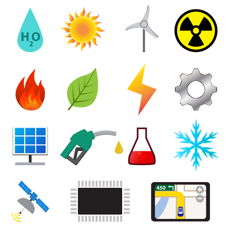 engine fire: Set of power and energy system in flat color icons, vector