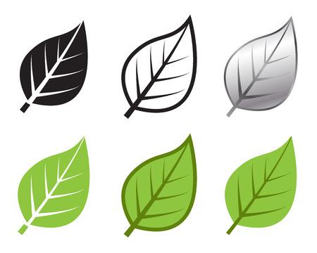 logo recyclage: Herb ic�ne de feuille dans beaucoup de style, Vector illustration