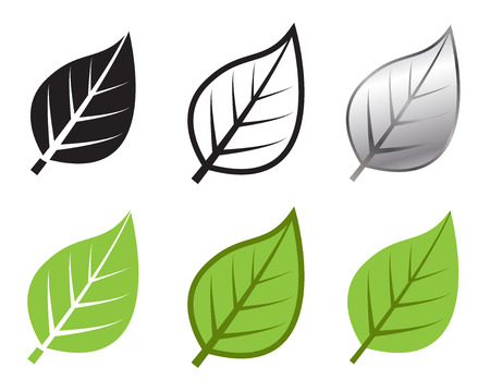 flower art: Herb leaf icon in many style, Vector illustration