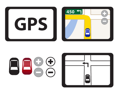 Set of GPS icons isolated object, Vector