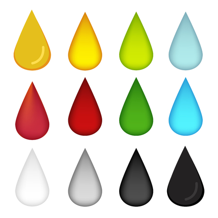 poison: Water drop in many color, oil, blood, water, milk and poison, vector Illustration