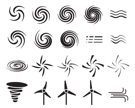 windfarm: Set of wind icons in many style, Vector
