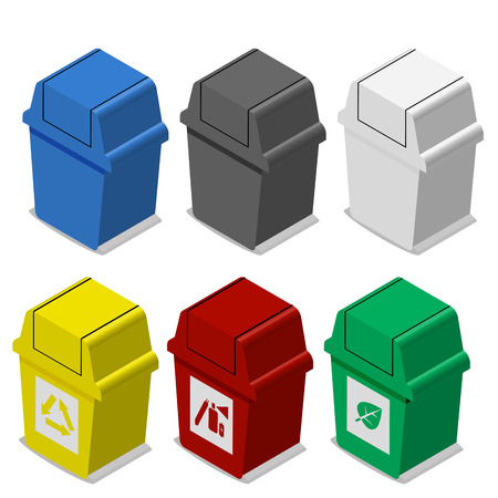 Set of isometric Trash bin with symbol in flat icon style in many color , 3d vector object