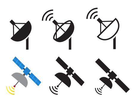 Set of satellite icons, Vector illustration Иллюстрация