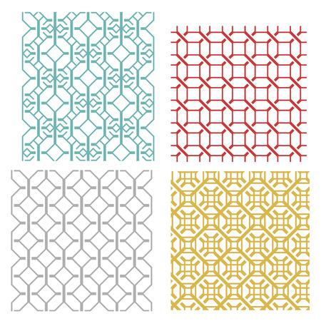 traditional: シームレスな幾何学的のセット モダンな韓国スタイルで線の種類とテクスチャを織り