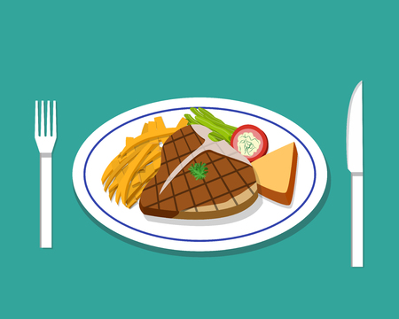 T-bone steak and french fries on dish, vector Illustration