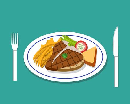 t bone steak: T-bone steak and french fries on dish, vector Illustration