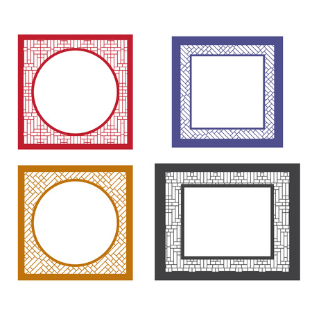 Set of blank picture frame template with asia textured boarder. Round and square table coasters in asia style. 矢量图像