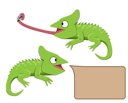 whole creature: Lizard eating insect in flat style, vector