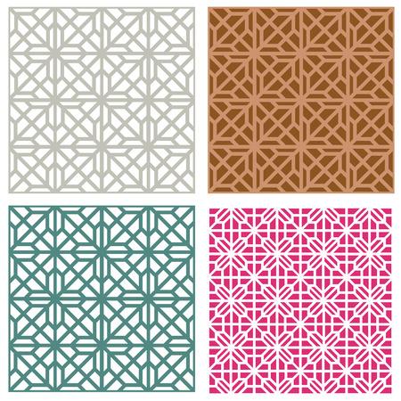 Seamless line pattern in modern korean style, vector Vettoriali