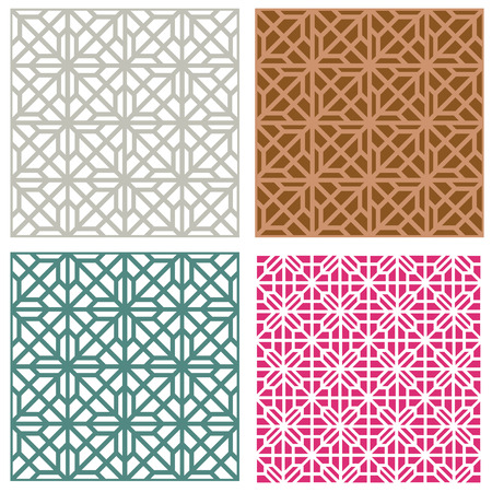 Seamless line pattern in modern korean style, vector Illustration