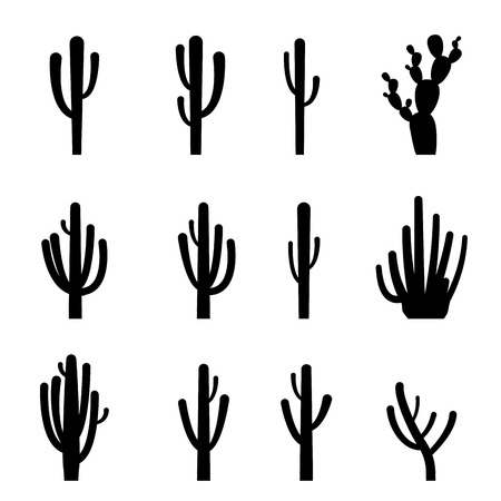 Set of cactus in black silhouette style, vector