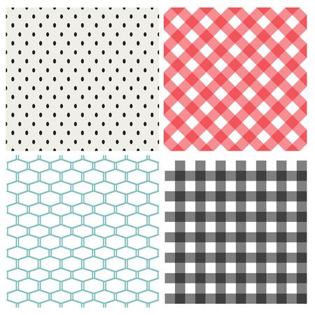 Set of classic seamless pattern, vector texture Ilustração